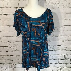 LulaRoe Blue Geometric Shirt Size XL